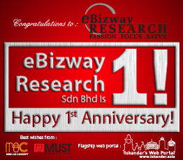 Happy 1st Anniversary eBizway Research Sdn Bhd
